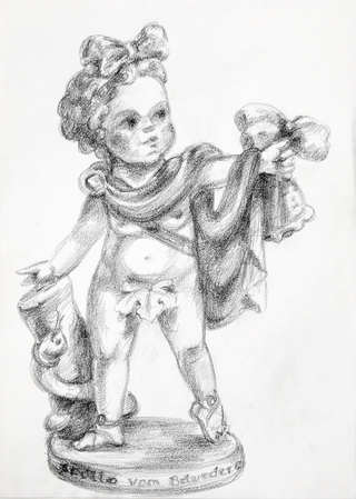 Little Apollo,  Pencil and graphite on paper 33 x 23.5 cm